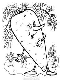 Забавные раскраски овощи и фрукты для детского сада