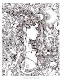 Антистресс девушки - раскраска A4